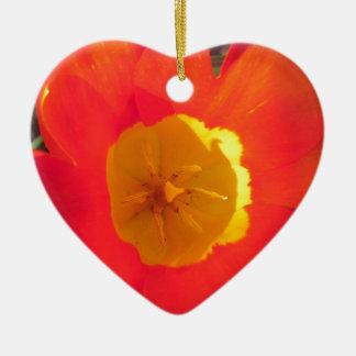 Ornement Cœur En Céramique Fleur ouverte de tulipe de rouge et de jaune