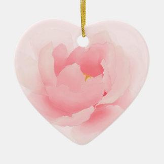 Ornement Cœur En Céramique Fleur rose-clair florale de pivoine d'aquarelle