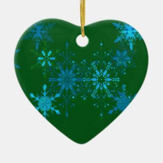 Ornement Cœur En Céramique Flocons de neige