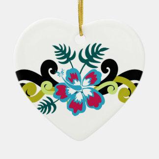 Ornement Cœur En Céramique Floral hawaïen