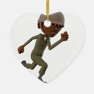 Ornement Cœur En Céramique Fonctionnement de soldat d'Afro-américain de bande