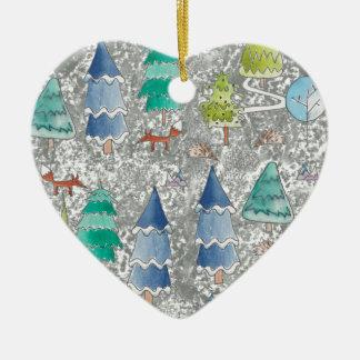 Ornement Cœur En Céramique Forêt d'hiver de couleur d'eau