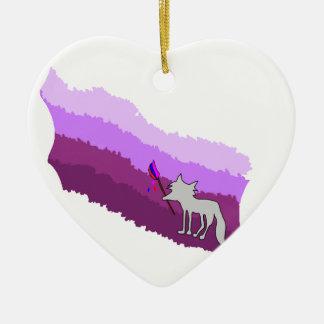 Ornement Cœur En Céramique Fox de couleurs