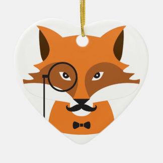 Ornement Cœur En Céramique Fox orange