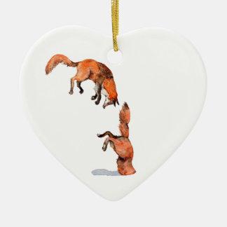Ornement Cœur En Céramique Fox rouge sautant