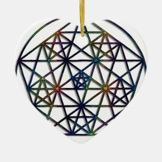 Ornement Cœur En Céramique Fractale sacrée de la géométrie d'abondance de la