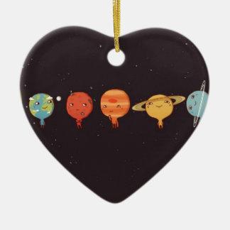 Ornement Cœur En Céramique Funny planet