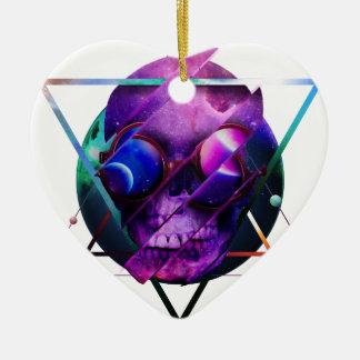 Ornement Cœur En Céramique Galaxie de crâne d'univers