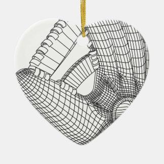 Ornement Cœur En Céramique gant de base-ball