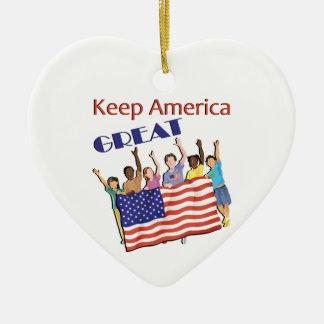 Ornement Cœur En Céramique Gardez le grand défilé adulte de l'Amérique