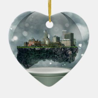 Ornement Cœur En Céramique Globe de neige d'île de Providence