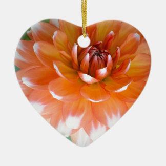 Ornement Cœur En Céramique Gloire orange et blanche