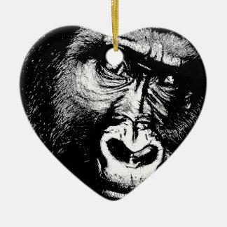 Ornement Cœur En Céramique Gorille