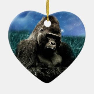 Ornement Cœur En Céramique Gorille dans le pré