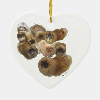 Ornement Cœur En Céramique Groupe de Pekingese