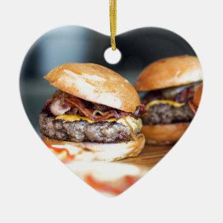 Ornement Cœur En Céramique Hamburgers