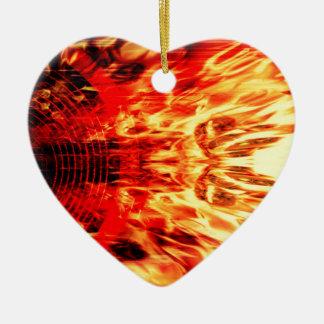 Ornement Cœur En Céramique Haut-parleur de musique avec des flammes