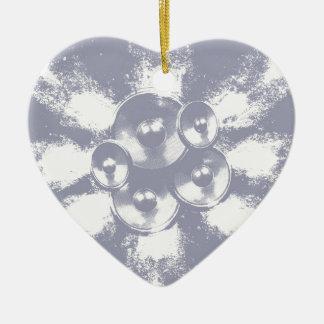 Ornement Cœur En Céramique Haut-parleurs bleu-clair de musique