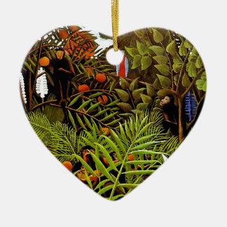 Ornement Cœur En Céramique Henri Rousseau - art exotique de jungle de paysage