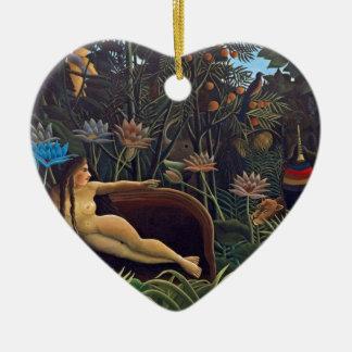Ornement Cœur En Céramique Henri Rousseau le rêve - animaux de la femme W de