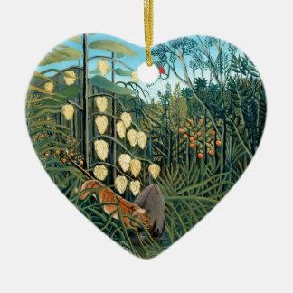 Ornement Cœur En Céramique Henri Rousseau - tigre et Buffalo de lutte