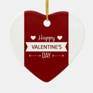 Ornement Cœur En Céramique Heureuse Sainte-Valentin rouge et blanche