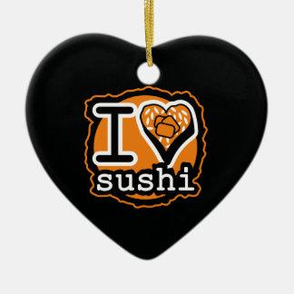 Ornement Cœur En Céramique I sushi love Japanese food gastronomy