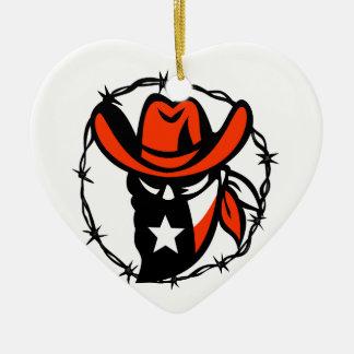 Ornement Cœur En Céramique Icône de fil de Barb de drapeau du Texas proscrite