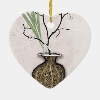 Ornement Cœur En Céramique Ikebana 1 par les fernandes élégants