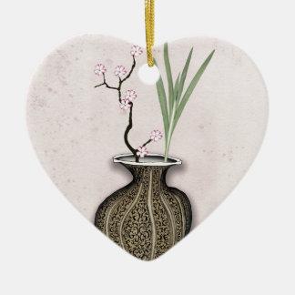 Ornement Cœur En Céramique Ikebana 2 par les fernandes élégants