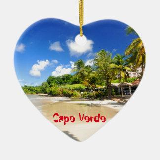 Ornement Cœur En Céramique Île tropicale au Cap Vert