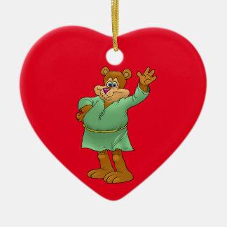 Ornement Cœur En Céramique Illustration de bande dessinée d'un ours de