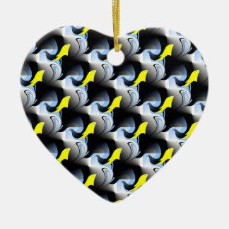 Ornement Cœur En Céramique Illustration de dauphin et d'oiseau