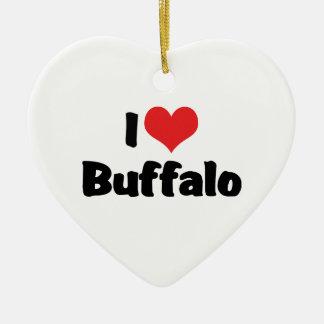 Ornement Cœur En Céramique J'aime Buffalo de coeur