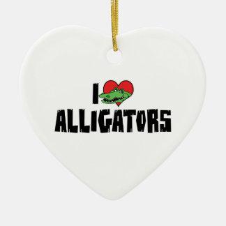 Ornement Cœur En Céramique J'aime des alligators de coeur