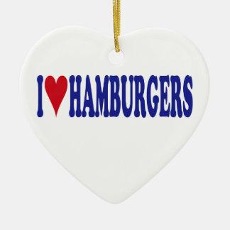 Ornement Cœur En Céramique J'aime des hamburgers
