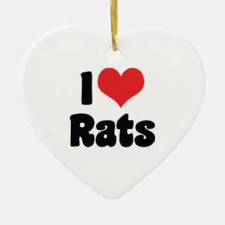 Ornement Cœur En Céramique J'aime des rats de coeur - amant de rat d'animal