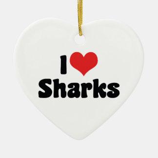 Ornement Cœur En Céramique J'aime des requins de coeur - amant de requin