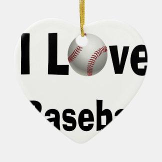 Ornement Cœur En Céramique J'aime le base-ball