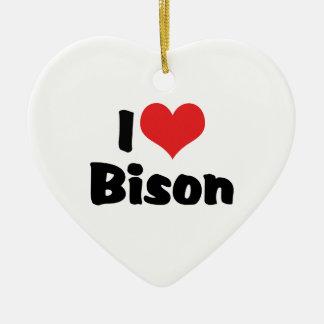 Ornement Cœur En Céramique J'aime le bison de coeur