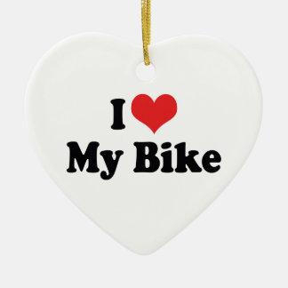 Ornement Cœur En Céramique J'aime le coeur mon vélo - amant de moto de