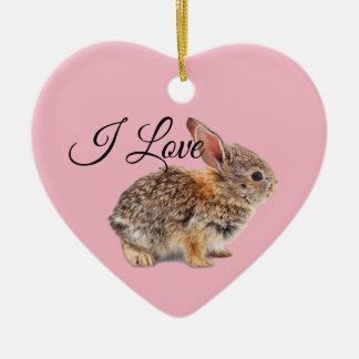 Ornement Cœur En Céramique J'aime le rose de lapins