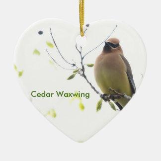 Ornement Cœur En Céramique Jaseur de cèdre animal d'oiseau