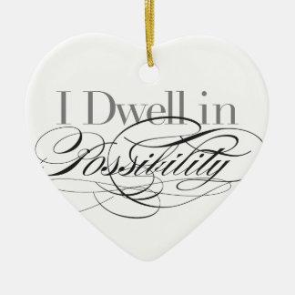 Ornement Cœur En Céramique Je demeure dans la possibilité - citation d'Emily
