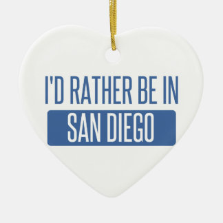 Ornement Cœur En Céramique Je serais plutôt à San Diego