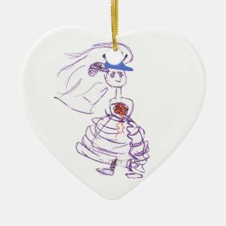 Ornement Cœur En Céramique Jeune mariée de fan de base-ball