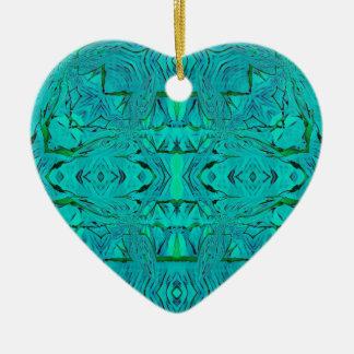 Ornement Cœur En Céramique Joli motif tribal bleu vert au néon