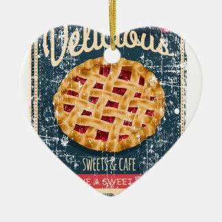 Ornement Cœur En Céramique Jour de tarte aux cerises - jour d'appréciation