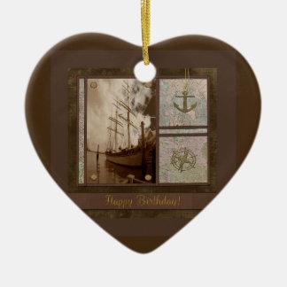 Ornement Cœur En Céramique Joyeux anniversaire, bateaux grands, ancre,