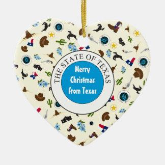 Ornement Cœur En Céramique Joyeux Noël du Texas